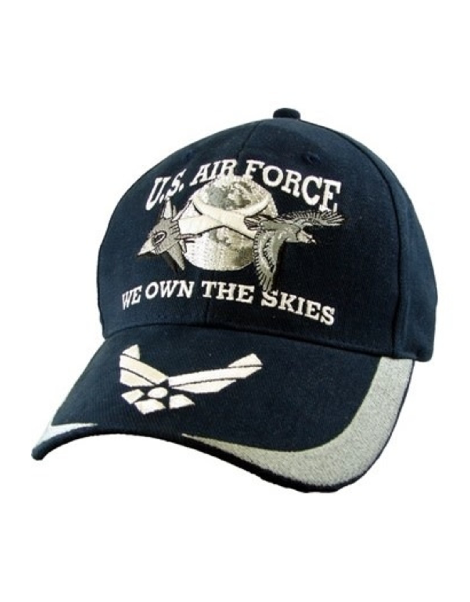 """MidMil Air Force Hat with Jets over Moon, Wings Emblem on Bill, and Motto """"We Own the Skies"""" Dark Blue"""