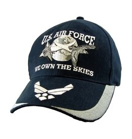 Air Force Hat with Jets over Moon, Wings Emblem on Bill, and Motto Dark Blue