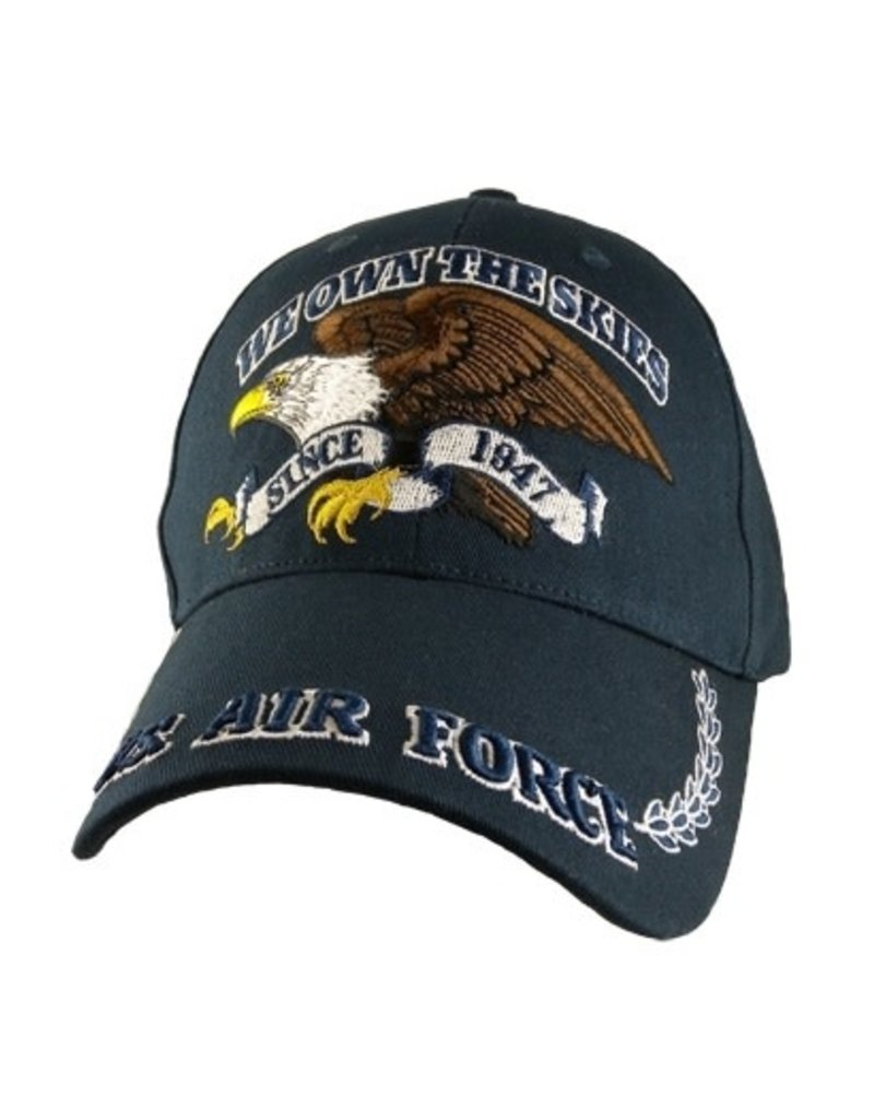 "MidMil Air Force Hat with Eagle and Motto ""We Own The Skies"" Dark Blue"