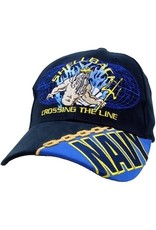 """MidMil Navy Shellback Hat with Neptune and Motto """"Crossing the Lin e"""" Dark Blue"""
