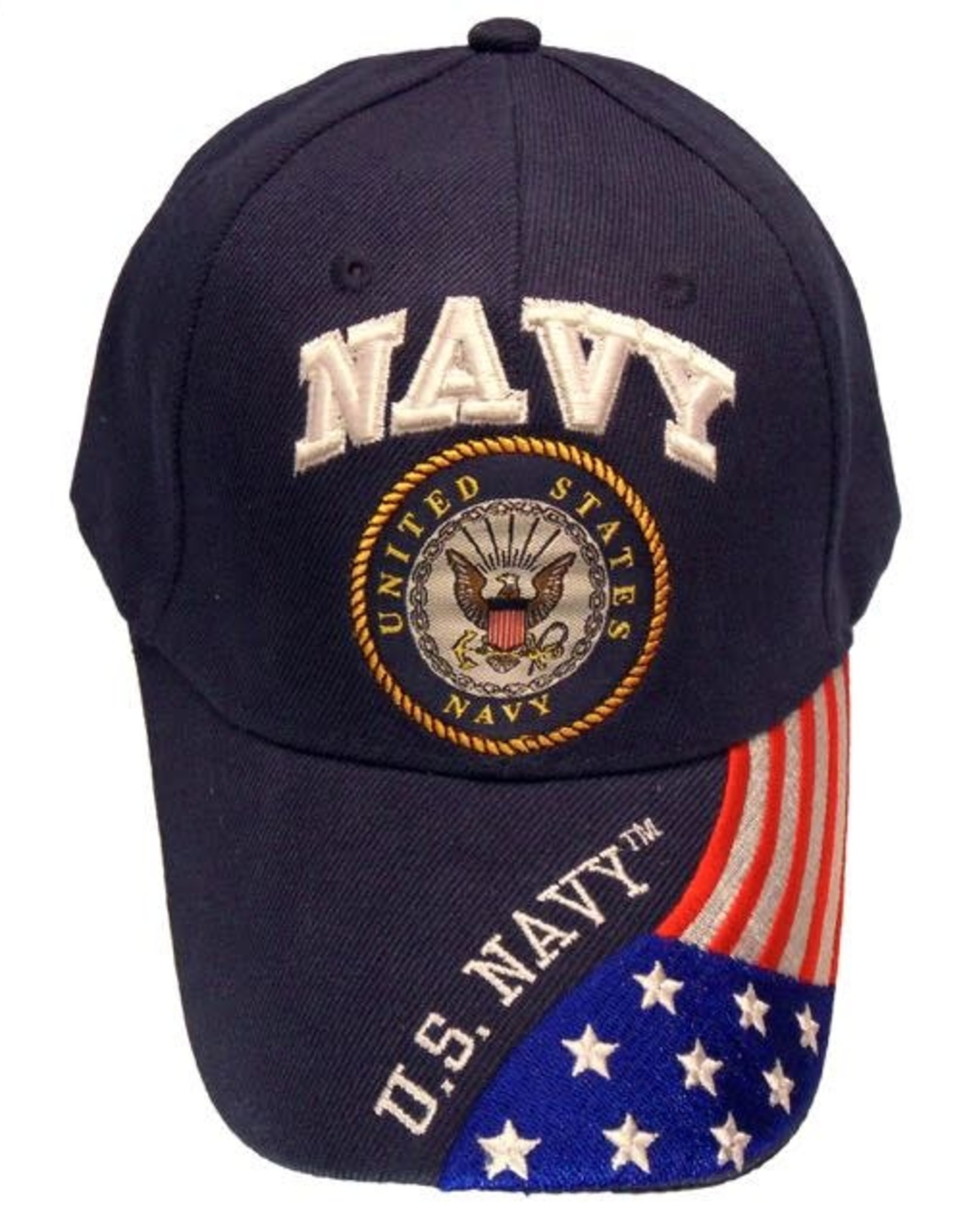 MidMil Navy Seal Hat with Flag on Bill Dark Blue