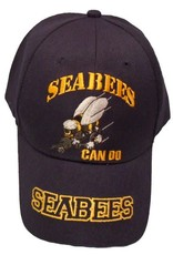 "MidMil Navy Seabees Hat with Emblem and Motto ""Can Do"" Dark Blue"