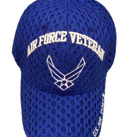 MidMil Air Force Veteran Hat with Wings Emblem Honeycomb Mesh Royal Blue