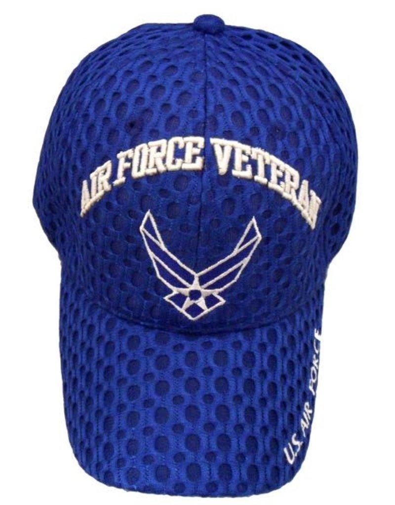MidMil Air Force Veteran Hat with Wings Emblem Honeycomb Mesh Royal Blue