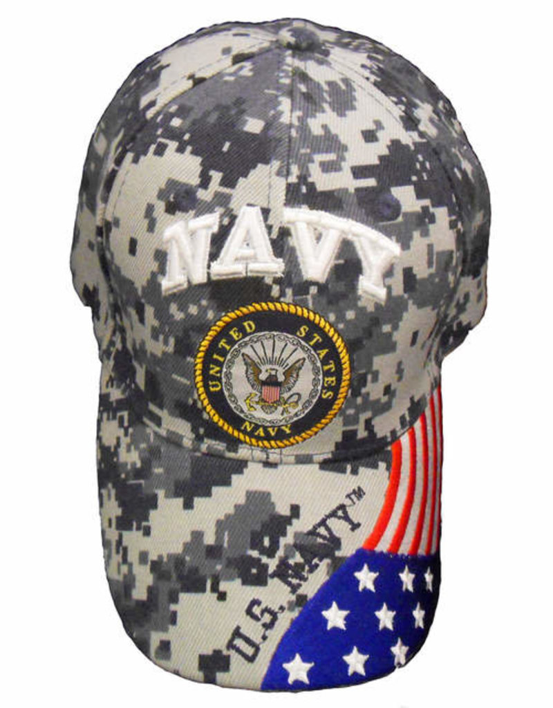 MidMil Navy Hat with Seal and Flag on Bill Blue Digicam