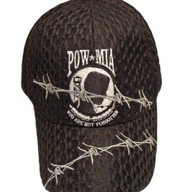 POW*MIA Hat with Barbed Wire On Air Mesh Black