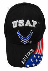 MidMil Air Force Hat with Wing Emblem and Flag Bill Black