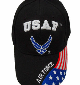 Air Force Hat with Wing Emblem and Flag Bill Black