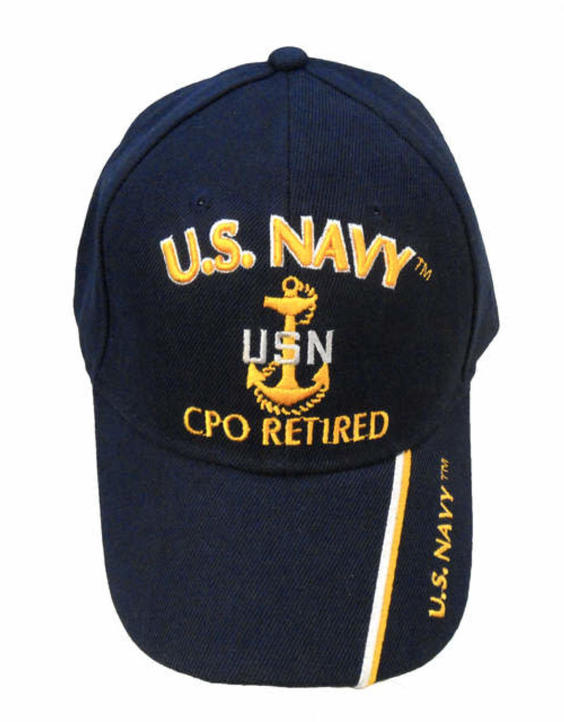 MidMil Navy CPO Retired Hat with Emblem Dark Blue
