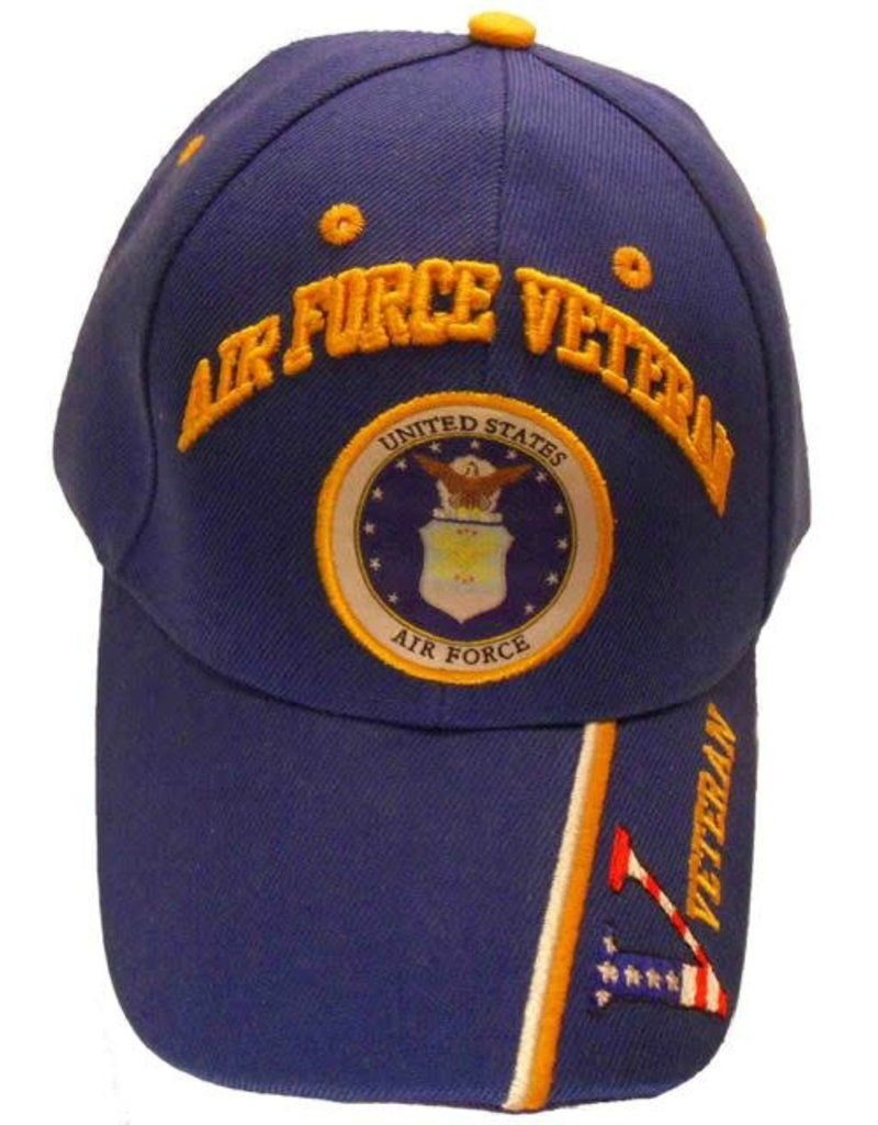 MidMil Air Force Veteran Hat with Seal Royal Blue