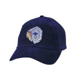 "MidMil Air Force Chief Master Sergeant Hat with ""Chief"" Emblem Dark Blue"