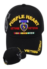 MidMil Purple Heart  Vietnam Veteran Hat with Medal Ribbons and Shadow Black