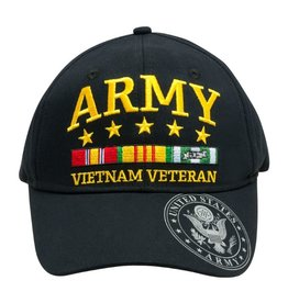 7cca9fe3 MidMil Army Vietnam Veteran Hat with Ribbons Stars Seal on Bill Black