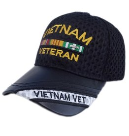 MidMil Vietnam Veteran Hat with Leather Bill, Ribbons Black Athletic Mesh