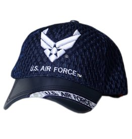 MidMil Air Force Hat with Leather Bill and Wing Emblem Black Athletic Mesh