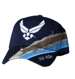 MidMil Air Force Hat with Wings Emblem and Barbed Wire Dark Blue