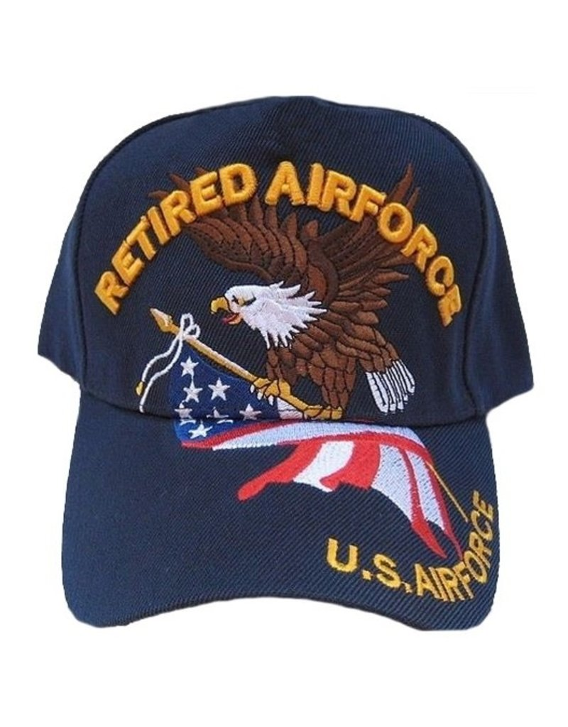 MidMil Retired Air Force Hat with Eagle and American Flag Dark Blue