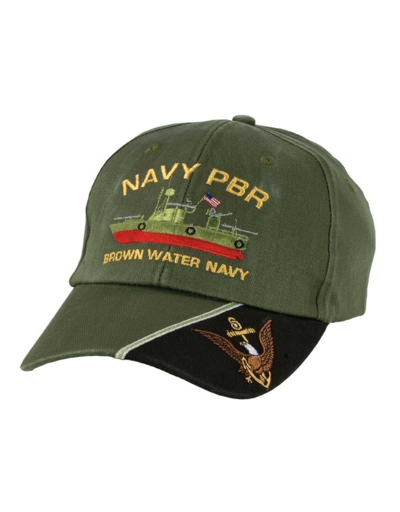 """MidMil Navy PBR Hat with Profile and Motto """"Brown Water Navy"""" Olive Drab"""