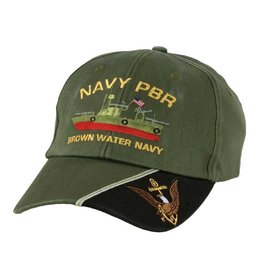 "MidMil Navy PBR Hat with Profile and Motto ""Brown Water Navy"" Olive Drab"