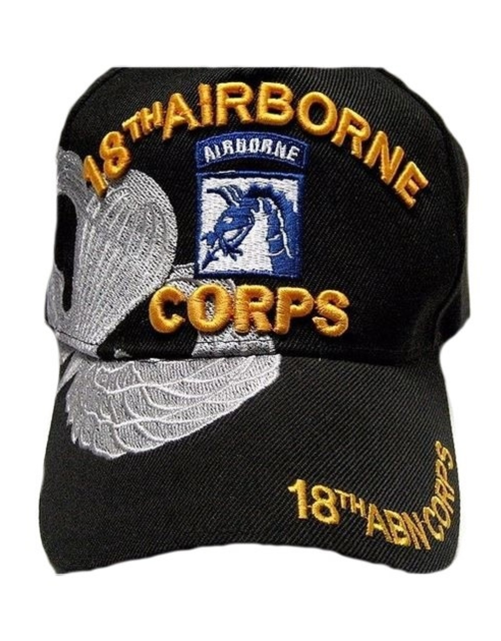 MidMil Army 18th Airborne Corps Hat with Emblem and  Parachute Wing Over Shadow Black