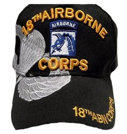 Army 18th Airborne Corps Hat with Emblem and  Parachute Wing Over Shadow Black