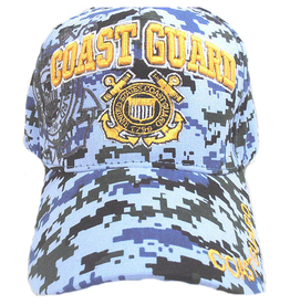 Coast Guard Hat with Emblem and Shadow Blue Digital Camouflage