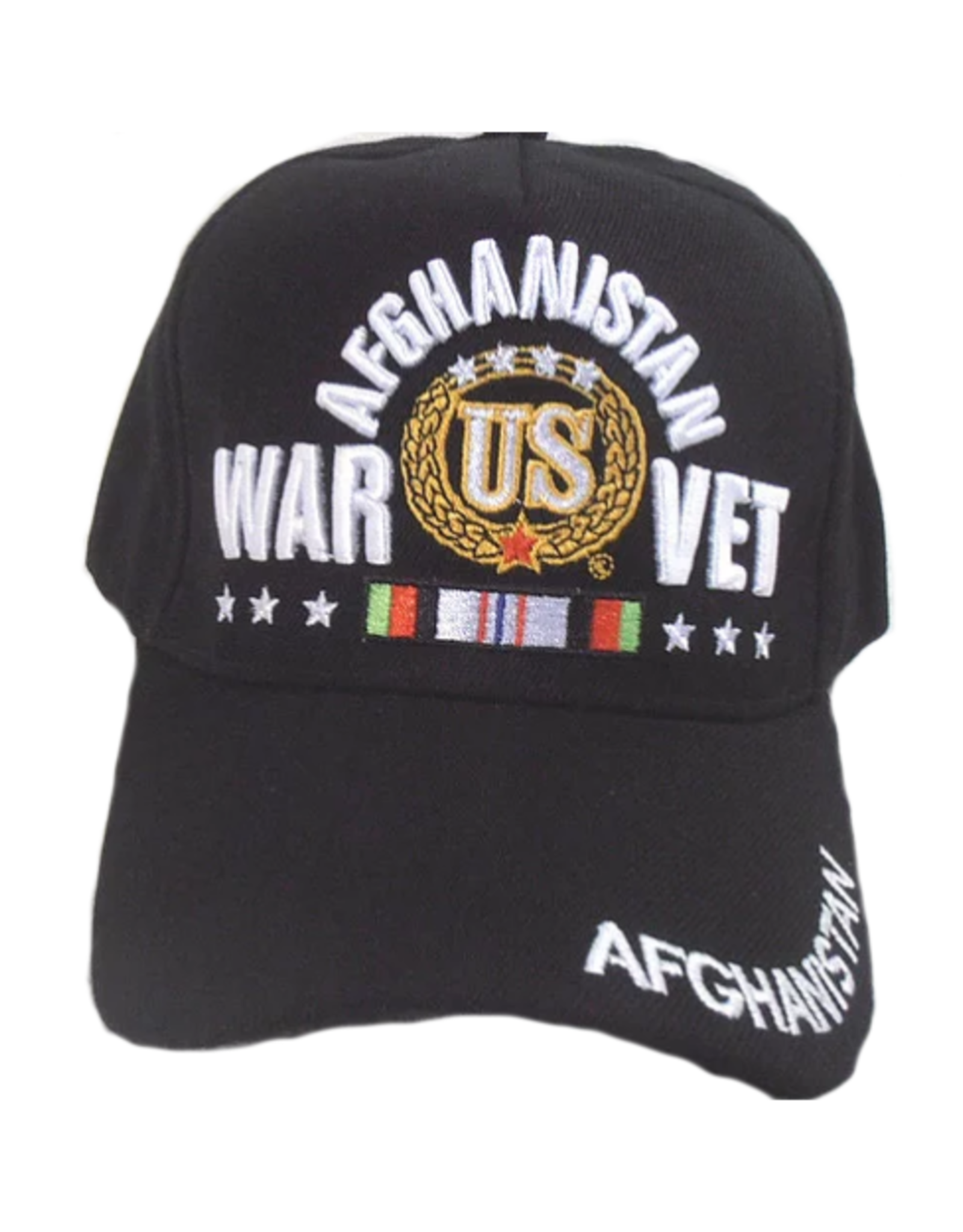 MidMil Afghanistan War Vet Hat with Ribbon and wreath Black