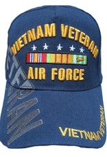 MidMil Vietnam Veteran Air Force Hat with Ribbons and Over Shadow Dark Blue