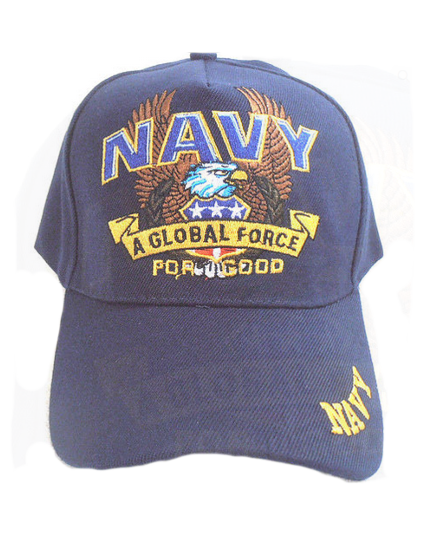"""MidMil Navy Hat with """"A Global Force"""" and Eagle Dark Blue"""