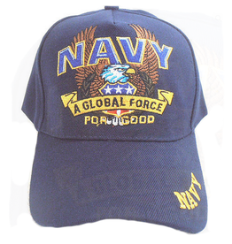 "MidMil Navy Hat with ""A Global Force"" and Eagle Dark Blue"