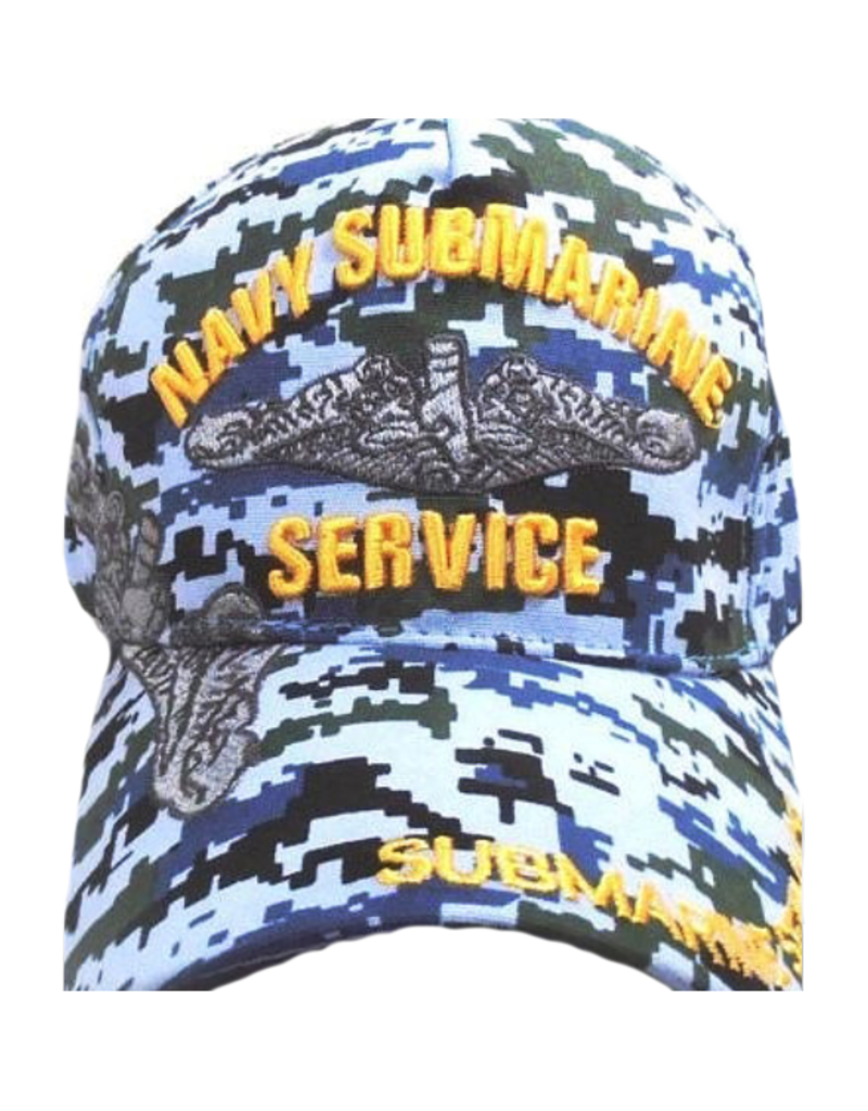 MidMil Navy Submarine Service  Hat with Dolphins and Over Shadow Blue DigiCam