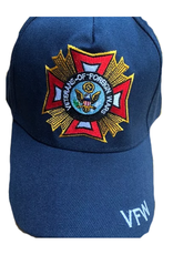 MidMil Veterans of Foreign Wars VFW Hat with Emblem and Shadow Royal Blue