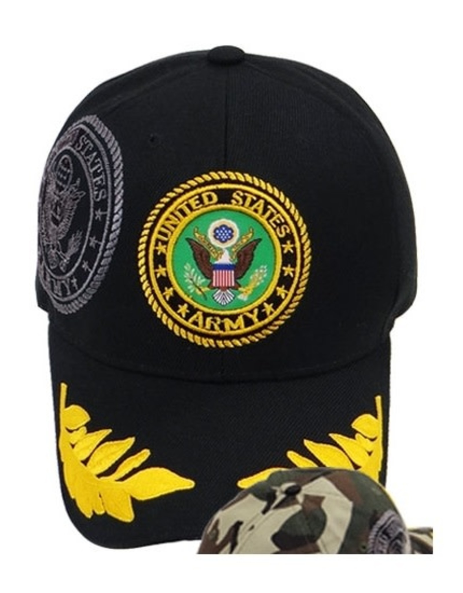 MidMil Army Hat with Seal, Shadow and Oak Leaves on Bill Black