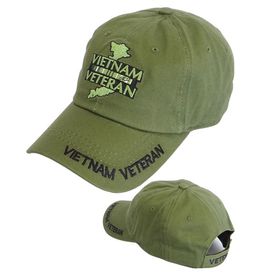 MidMil Vietnam Veteran Subdued Hat with Country and Ribbons Olive Drab