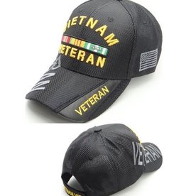 MidMil Vietnam Veteran Hat with Ribbons and Veteran on Bill Black Athletic Mesh