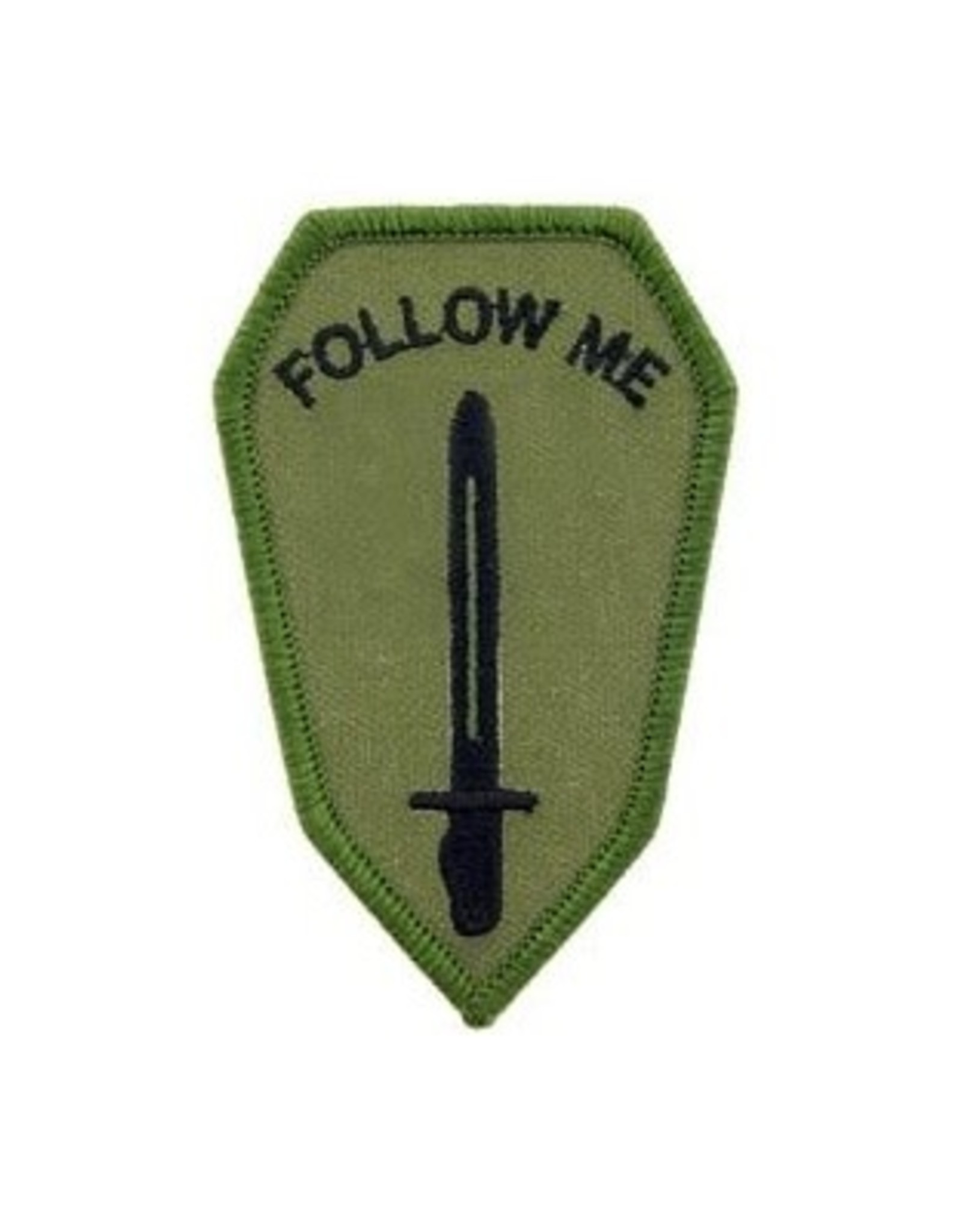 "MidMil Embroidered Subdued Army Infantry School ""Follow Me"" Patch 2"" wide x 3.3"" high"