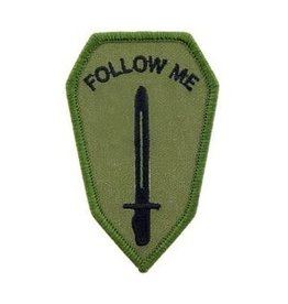 """MidMil Embroidered Subdued Army Infantry School """"Follow Me"""" Patch 2"""" wide x 3.3"""" high"""