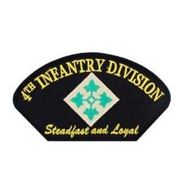 "MidMil Embroidered Army 4th Infantry Division with Motto 5.2"" wide x 3"" high Black"