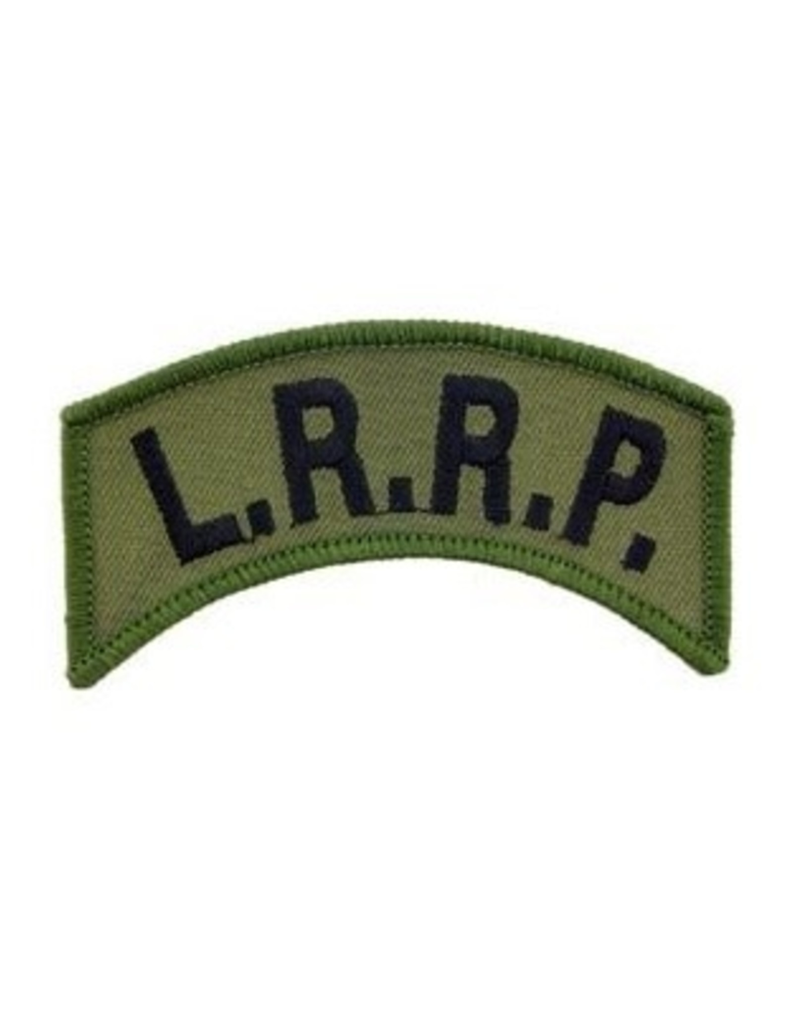 """MidMil Embroidered Army L.R.R.P. Tab Patch 3"""" wide x 1.3"""" high Olive Drab"""
