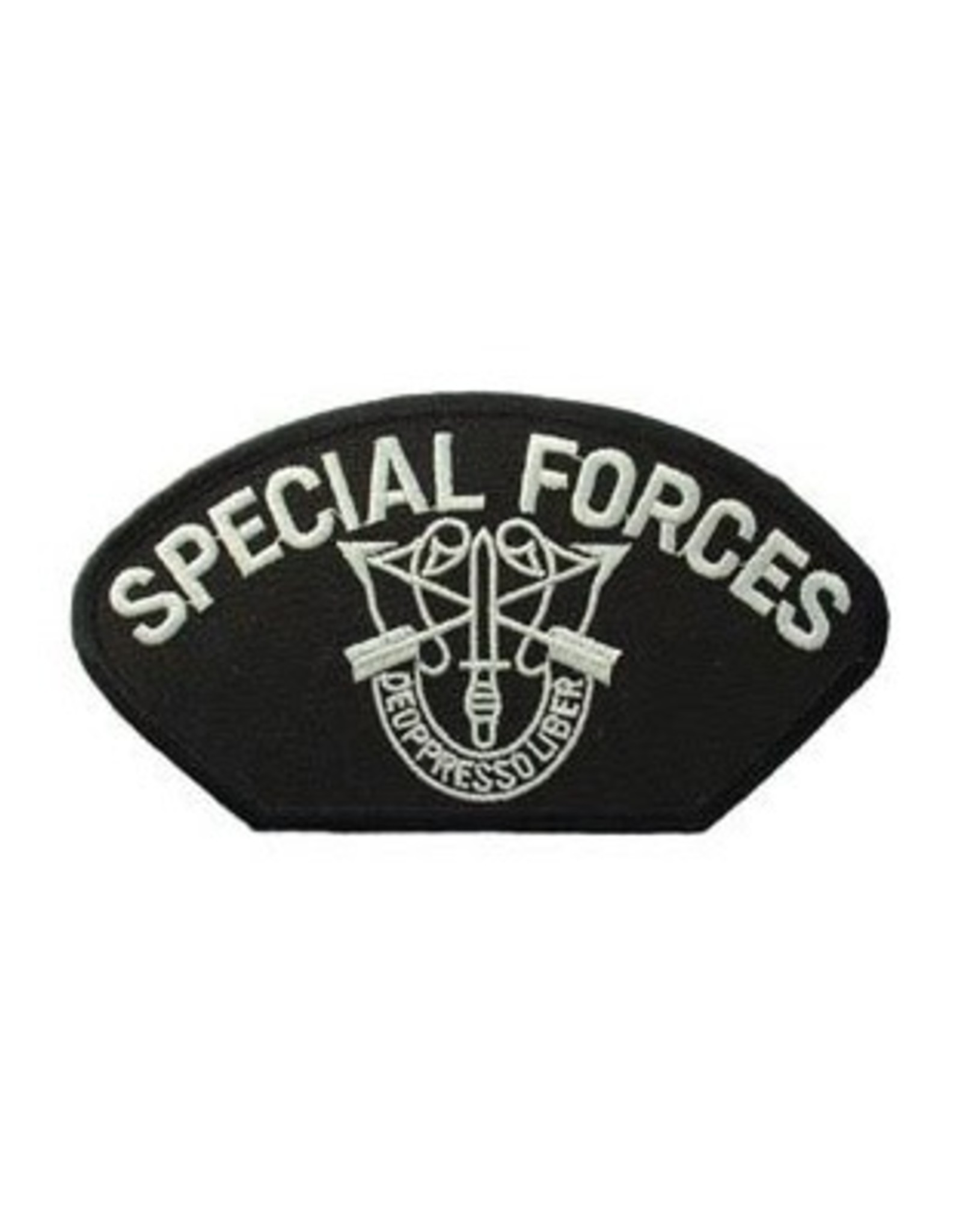 """MidMil Embroidered Army Special Forces Emblem Patch 5.2"""" wide x 3"""" high Black"""