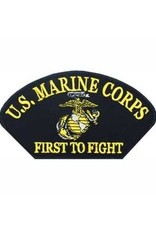 """MidMil Embroidered U.S. Marine Corps Patsh with Globe and Anchor and Motto """"First to Fight"""" 5.2"""" wide 3"""" high Black"""