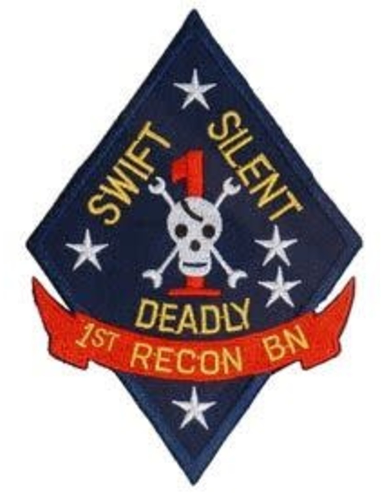 "MidMil Embroidered Marine 1st Recon Bn Emblem 3"" wide x 4.4"" high"