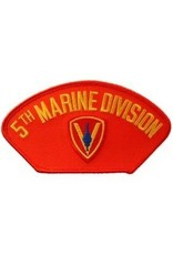 """MidMil Embroidered 5th Marine Division Patch 5.2"""" wide x 3"""" high Red"""