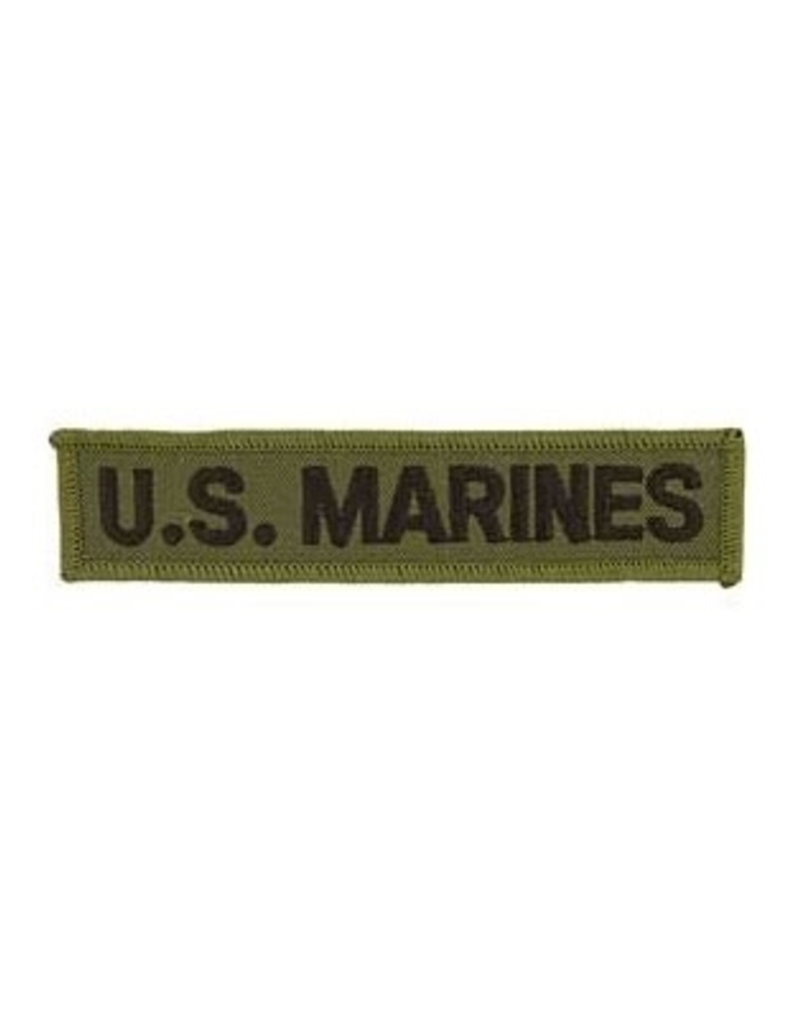 """MidMil Embroidered U.S. Marines Straight Tab Patch 5.3"""" wide x 1.3"""" high Olive Drab"""