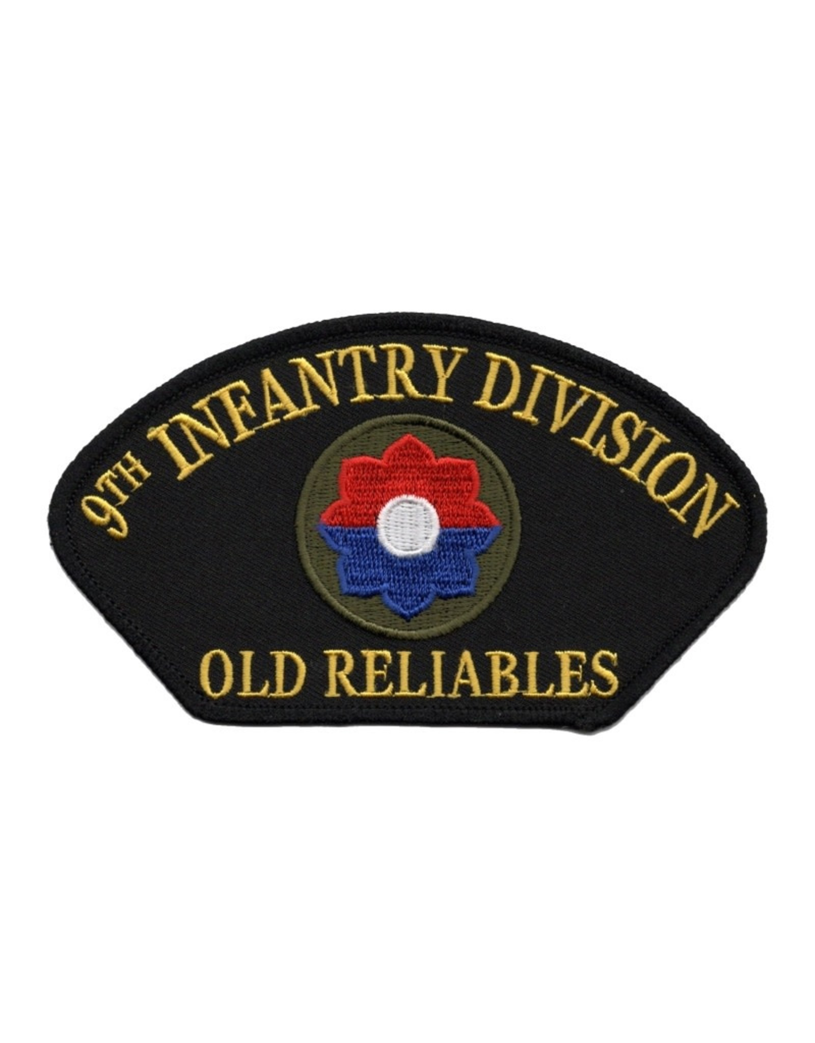 "MidMil Embroidered Army 9th Infantry Division Patch with Emblem and Motto ""Old Reliables"" 5.2"" wide x 3"" high Black"