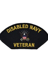 """MidMil Embroidered Disabled Navy Veteran Patch 5.2"""" wide x 3"""" high Black"""