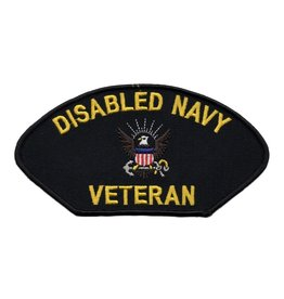 "MidMil Embroidered Disabled Navy Veteran Patch 5.2"" wide x 3"" high Black"