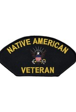 """MidMil Embroidered Navy Native American Veteran Patch 5.2"""" wide x 3"""" high Black"""