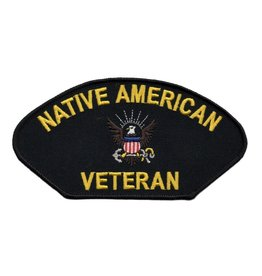 "MidMil Embroidered Navy Native American Veteran Patch 5.2"" wide x 3"" high"