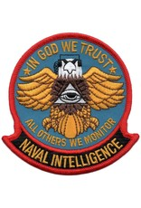 "MidMil Embroidered Naval Intelligence Patch with Emblem and Motto ""In God We Trust-All Others We Monitor"" 3.7"" wide x 3.9"" high"